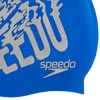 Speedo Senior Slogan Print Swimming Cap Blue/Chrome