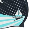 Speedo Senior Slogan Print Swimming Cap Navy/Spearmint/White