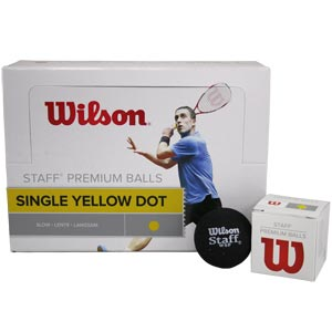 Wilson Staff Squash Balls Single Yellow Dot Pack of 12