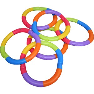 PLAYM8 Inflatable Rainbow Ring 6 Pack 51cm
