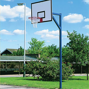 Harrod Sport Socketed Basketball Goals with Steel Practice Backboard Set