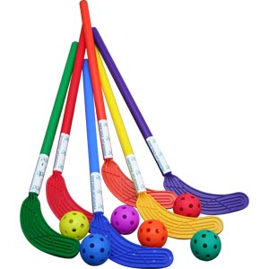 PLAYM8 Hockey Sticks and Balls 6 Pack 75cm