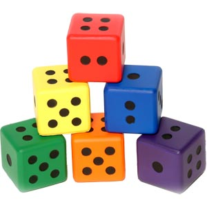 PLAYM8 Mini Foam Dice 6 Pack 8cm