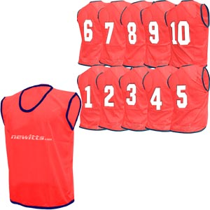 Newitts Numbered Training Bibs 1-10 Pack Red