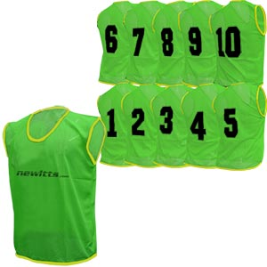 Newitts Numbered Training Bibs 1-10 Pack Green