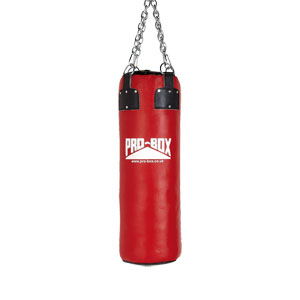 Pro Box Leather Punch Bag Red Collection 3ft