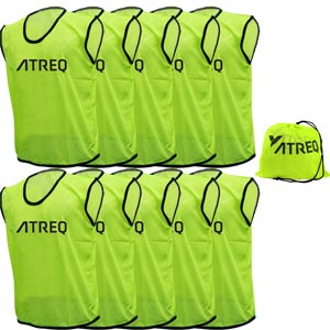 ATREQ Hi Vis Training Bibs 10 Pack Yellow