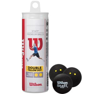Wilson Staff Squash Balls Double Yellow Dot Tube of 3