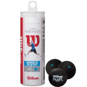 Wilson Staff Squash Balls Blue Dot Tube of 3