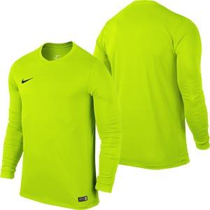 Nike Park VI Long Sleeve Junior  Football Shirt Volt Yellow