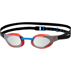 Speedo Fastskin Elite Mirror Swimming Goggles Lava Red/Silver