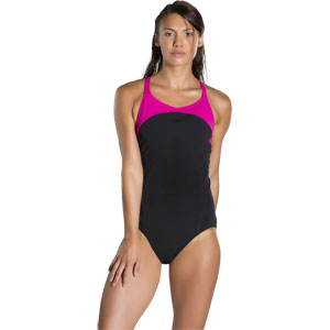 Speedo Fit Power Form X Back Swimsuit Black/Electric Pink