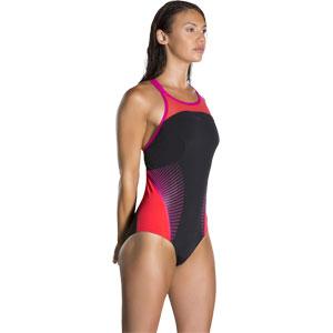 Speedo Fit Splice X Back Swimsuit Black/Lava Red/Electric Pink
