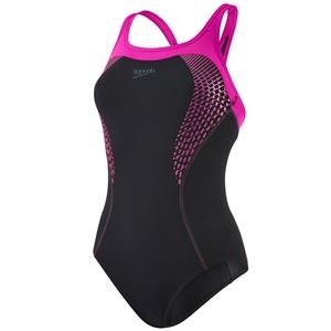 Speedo Fit Kickback Swimsuit Black/Electric Pink