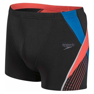 Speedo Fit Splice Aquashort Black/Lava Red/Danube