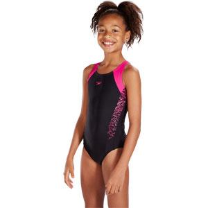 Speedo Girls Boom Splice Muscleback Swimsuit Black/Electric Pink