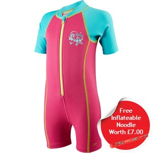 Speedo Girls Sea Squad Hot Tot Suit Pink/Blue FREE Noodle