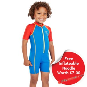 Speedo Boys Sea Squad Hot Tot Suit Blue/Red FREE Noodle