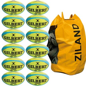 Gilbert G TR4000 Trainer Rugby Ball 12 Pack Yellow