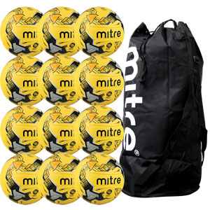 Mitre Ultimatch Hyperseam Match Football 12 Pack Hi Vis