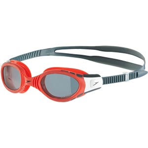 Speedo Futura Biofuse Polarised Swimming Goggles Lava Red/Smoke