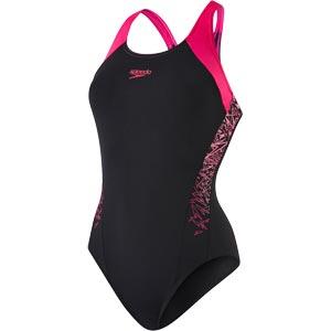 Speedo Boom Splice Racerback Swimsuit Black/Electric Pink