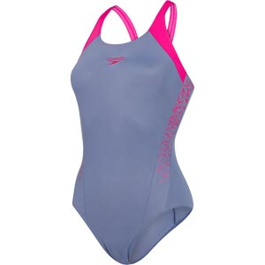 Speedo Boom Splice Muscleback Swimsuit Vita Grey/Electric Pink