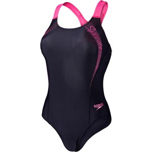 Speedo Sports Logo Medalist Swimsuit  Black/Vegas Pink