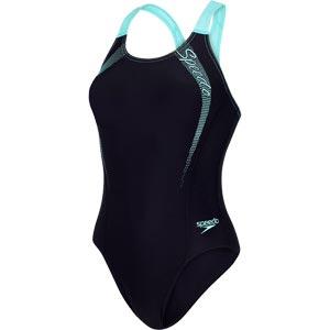 Speedo Sports Logo Medalist Swimsuit Black/Spearmint