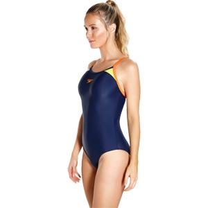 Speedo Splice Thinstrap Racerback Swimsuit Navy/Hot Orange/Lime Punch