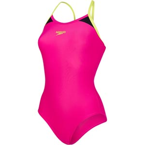 Speedo Splice Thinstrap Racerback Swimsuit Electric Pink/Lime Punch/Black