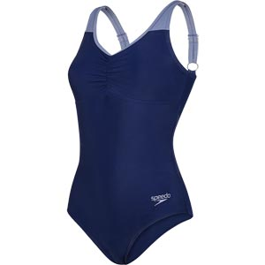 Speedo Essential Clipback Swimsuit Navy/Vita Grey