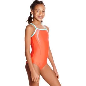 Speedo Girls Sports Logo Thinstrap Muscleback Swimsuit Watermelon/Spearmint