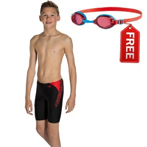 Speedo Boys Boom Splice Jammer Black/Risk Red FREE Goggle
