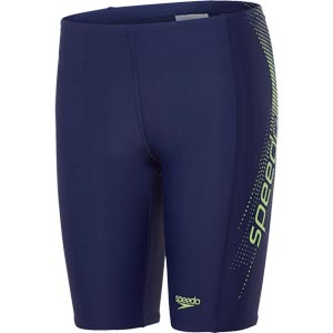 Speedo Boys Sports Logo Panel Jammer Navy/Apple Green