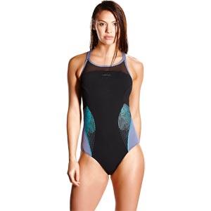 Speedo Fit Splice X Back Swimsuit Black/Vita Grey/Turquoise