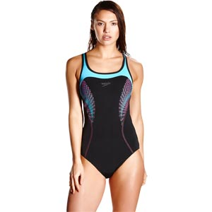 Speedo Fit Kickback Swimsuit Black/Turquoise/Electric Pink