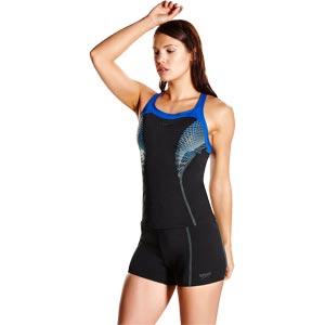 Speedo Fit Kickback Tankini Black/Beautiful Blue/Spearmint