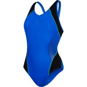 Speedo Fit Splice Muscleback Swimsuit Beautiful Blue/Black/Spearmint