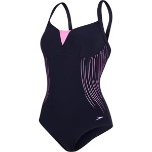Speedo Shinedream Placement Swimsuit Navy/Orchid