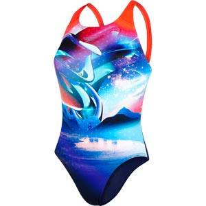 Speedo Solar Surface Digital Powerback Swimsuit Navy/Lava Red/Bondi/Spearmint