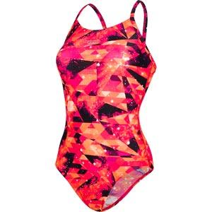 Speedo Cosmic Point Thinstrap Swimsuit Electric Pink/Hot Orange/Jaffa/Black