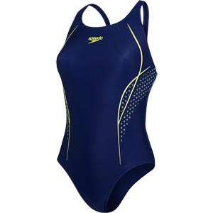 Speedo Start Shift Powerback Swimsuit Navy/Lime Punch/Spearmint