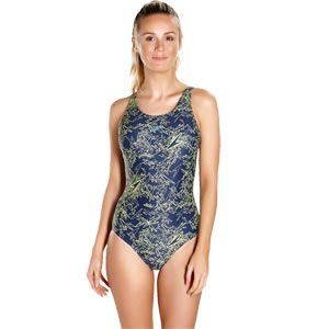 Speedo Boom Allover Muscleback Swimsuit Navy/Lime Punch