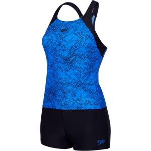 Speedo Boom Allover Tankini Beautiful Blue/Black