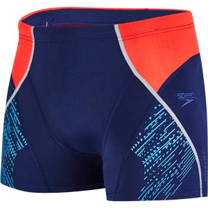 Speedo Fit Panel Aquashort Navy/Lava Red/Turquoise