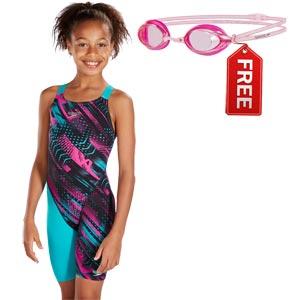 Speedo Girls Fastskin Endurance+ Kneeskin Jade/Black/Pink FREE Goggle