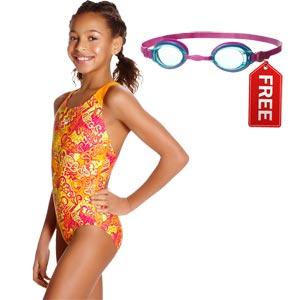 Speedo Fusion Fun Allover Splashback Swimsuit Jaffa/Pink FREE Goggles