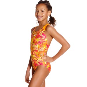 Speedo Fusion Fun Allover Splashback Swimsuit Jaffa/Pink