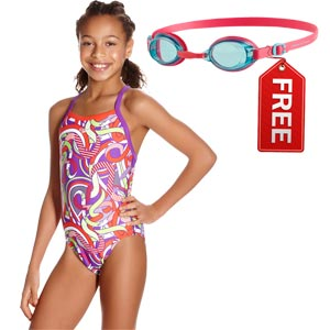 Speedo Girls Astro Fizz Allover Thinstrap Crossback Purple/Watermelon/Green FREE Goggles